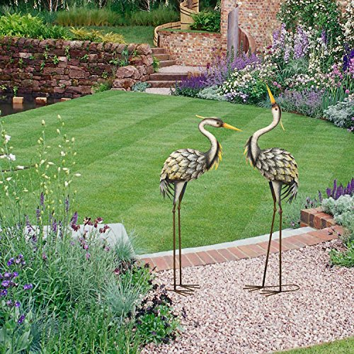 Heron Sculpture Metal Yard Art Decorative Lawn Ornament Crane Pair