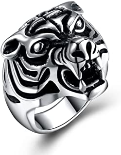 Tiger Head Ring for Men Women Stainless Steel Size 8-12 Jewelry with Gifts