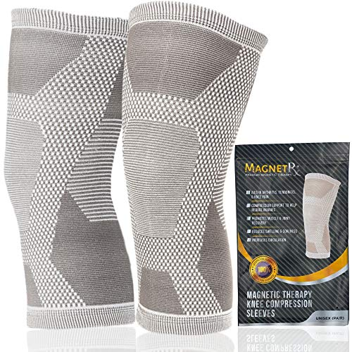 MagnetRX® Magnetic Therapy Knee Compression Sleeve - (2-Pack) Knee Support with Magnets for Knee Pain & Recovery - Magnet Therapy Knee Brace Support (Medium)