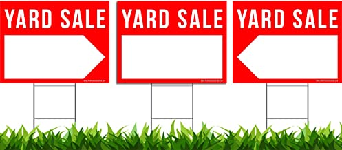 "3 Pack Yard Sale Signs Kit - Double Sided Signs & Metal H-Stakes - Red Property Signs 24""x18"" – Great for Garage or Yard Sales – High Visibility Signs with Directional Arrows"