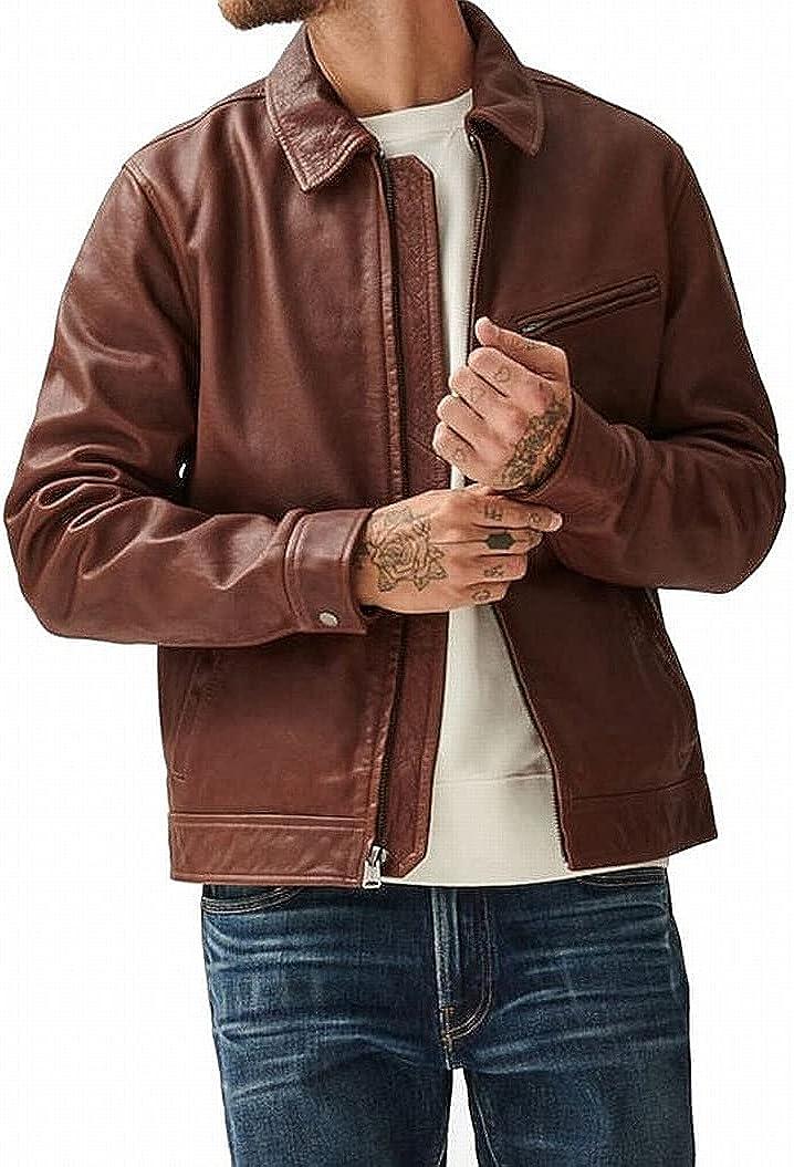 Lucky Brand Men's Long Sleeve Aviator Leather Jacket