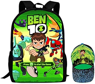 Be-N 10 Children's School Bags with Baseball Cap Printing Backpacks Hat Set for Boys Girls Teens