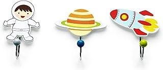 Mousehouse Gifts - Set de 3 percheros infantiles - Madera - Temática espacial