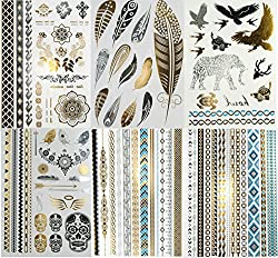 temporary tattoos in gold and silver