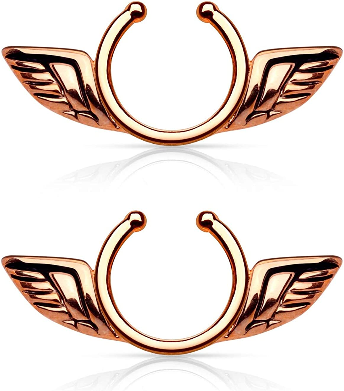 Pierced NEW before selling Owl Angel Wings Clip On Non-Pierce So Manufacturer OFFicial shop Nipple Rings Fake