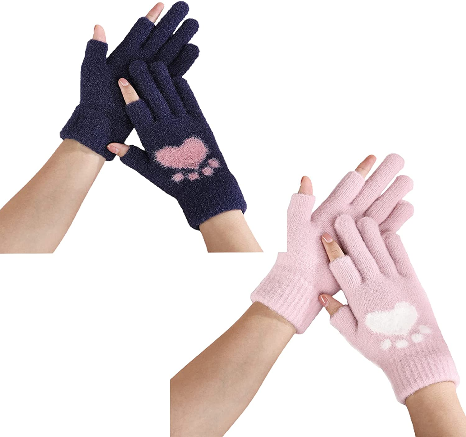 SLDHFE A Pair of Winter Warm Gloves,18x11cm Half Finger Gloves Winter Fingerless Gloves,Knitted Fingerless Mittens Warm Stretchy Gloves for Men and Women