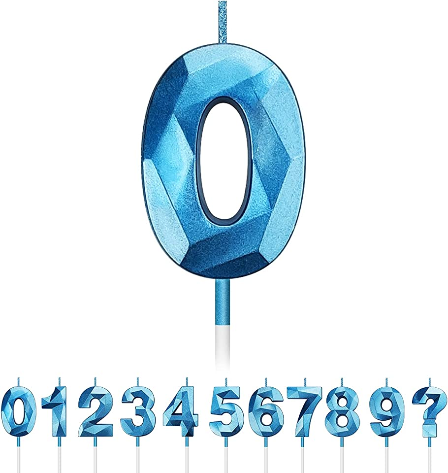 Birthday Candles Numbers 0 1 2 3 4 5 6 7 8 9, 3D Diamond Shape Glitter Number Candles for Cakes Sparkling Numeral Candles Cake Topper Decoration for Kids Adults Birthday Party Favor (Blue, 0)