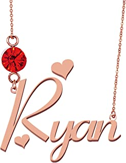 Personalized Any Name Necklace with Birthstone