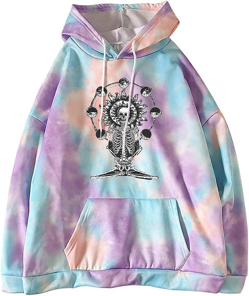 Toeava Hoodies for Women, Women's Fashion Tie Dye Print Drawstring Loose Blouse Thermal Pullover Sweatshirt with Pocket