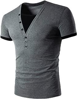 Camiseta para Hombres Moda Empalme Cuello en V Manga Corta Camiseta