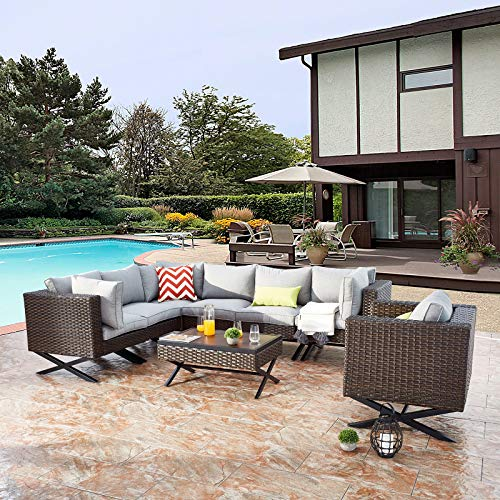 Festival Depot 8pcs Outdoor Furniture Patio Conversation Set Sectional Corner Sofa Chairs with X Shaped Metal Leg All Weather Brown Rattan Wicker Rectangle Coffee Table with Grey Seat Back Cushions