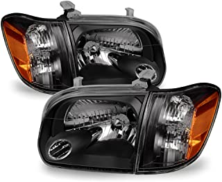 ACANII - For 2005-2006 Toyota Tundra Double   Crew Cab 2007 Sequoia Black Headlights w/Corner Lamps Driver + Passenger