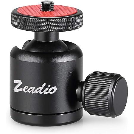 """Zeadio Metallo Mini Testa a sfera, con attacco per treppiede con foro filettato 1/4 """"3/8"""" per fotocamere, DSLR, monopiede, slider, treppiede ecc"""