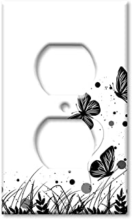 Art Plates Duplex Outlet Cover Wall Plate - Black and White Butterfly
