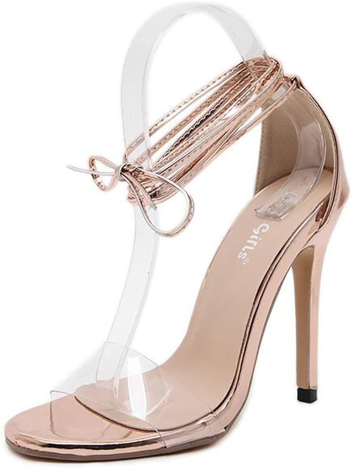 MODEOK Summer Cross-Strap Sandals Women's Transparent Stiletto Heel Toe Heel