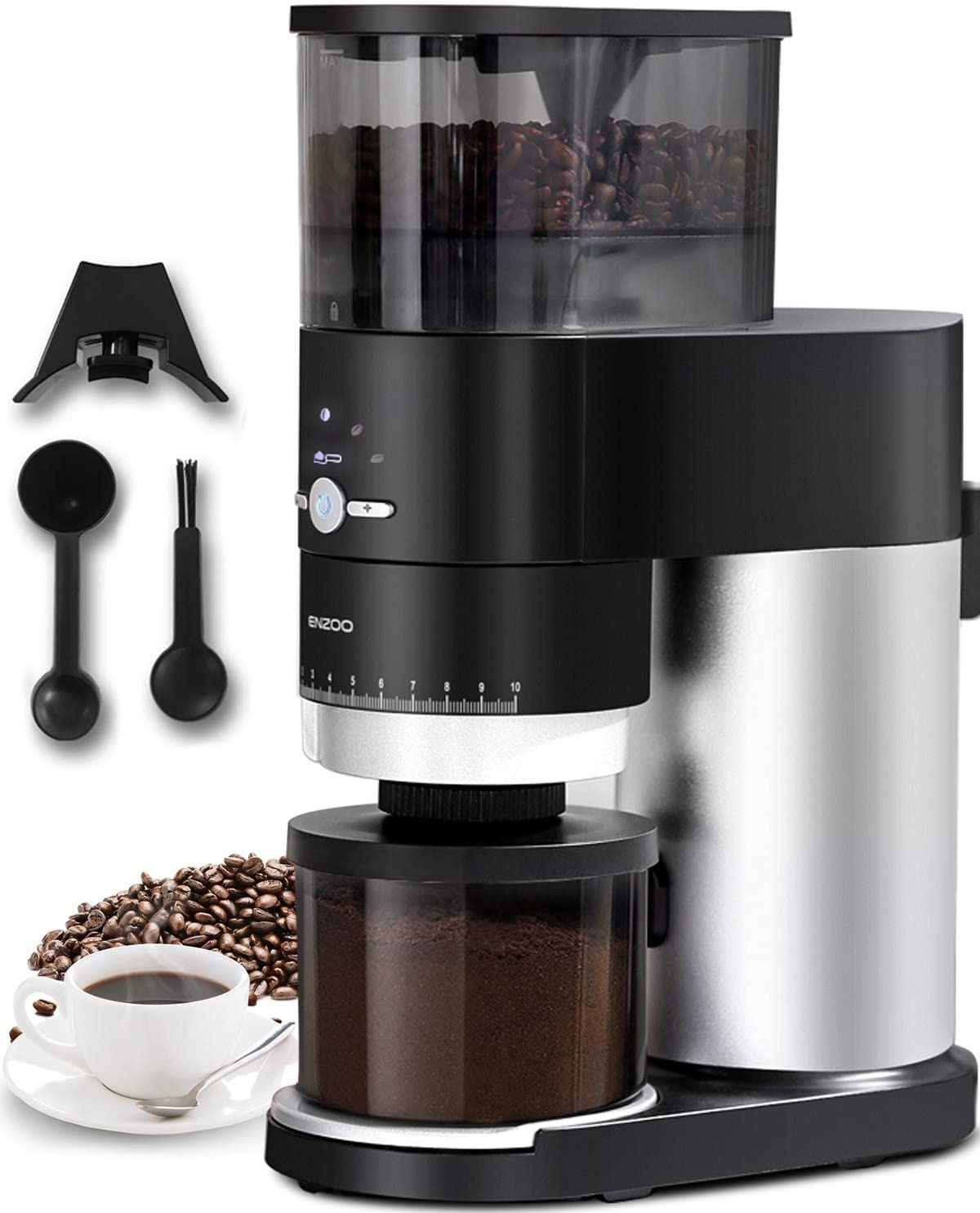 Conical Louisville-Jefferson County Mall Burr Coffee Grinder [Alternative dealer] Electric ENZOO Bean
