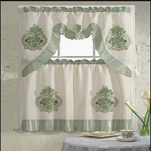 B&H Home Majestic Floral Embroidered 3-Piece Kitchen Curtain Window Treatment Set (Majestic Green)