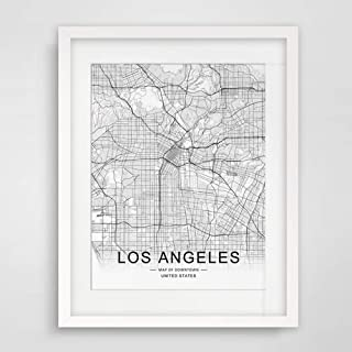Los Angeles City Downtown Map Wall Art Los Angeles Street Map Print Map Decor City Los Angeles Road Art Black and White City Map Office Wall Hanging 8x10 inch No Frame