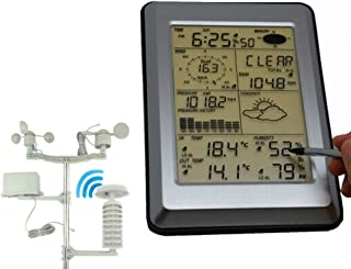 Multi-Functional Wireless Weather Station W/PC Interface, Touch Panel W/Solar Sensor Large LCD Color Display Weather Clock,Temperature Humidity Monitor Thermometer,Pressure Measure For Home