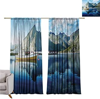 Rod Pocket Blackout Curtains European,Sunset in Norwegian Lake by Fjords Formation Yacht Fishing Arctic Harbor Island Print,Blue W120 x L108 inch,for Living Room and Bedroom