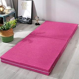 Colchón de espuma viscoelástica de 4 pulgadas de grosor, plegable, lavable, para dormir, cama individual, tamaño King, color rojo