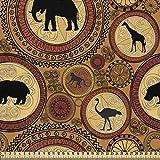 ABAKUHAUS Zambia Tela por Metro, Animales Étnicos Africanos, Decorativa para Tapicería y Textiles del Hogar, 1M (148x100cm), El Jengibre Canela Negro