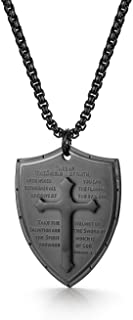 Cupimatch Men Shield Armor of God Ephesians 6:16-17 Faith Cross Necklace, Stainless Steel Pendant Necklace,Black