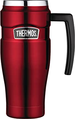 Thermos Stainless King 16 Ounce Travel Mug with Handle, Cranberry