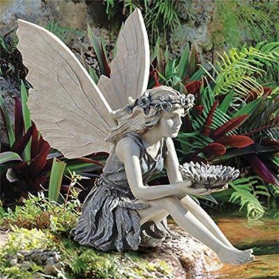 Sitting Fairy Statue, Angel Garden Sculpture, Garden Realistic Figurine Decor, Antique Resin Angel Craft, Home Table Ornaments, Garden Lawn Yard Art Porch Patio Outdoor Decorations (Gray)