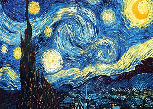 Yefun Kit Diamond Painting per Adulti e Bambini, DIY 5D Round Full Drill Art, Diamond Painting Van Gogh (The Starry Night)