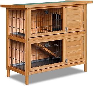 2 Storey Wooden Rabbit Hutch Pet Chicken Coop Hen House Ferret Guinea Pig Cage Run 2 Slide Out Tray Indoor Outdoor