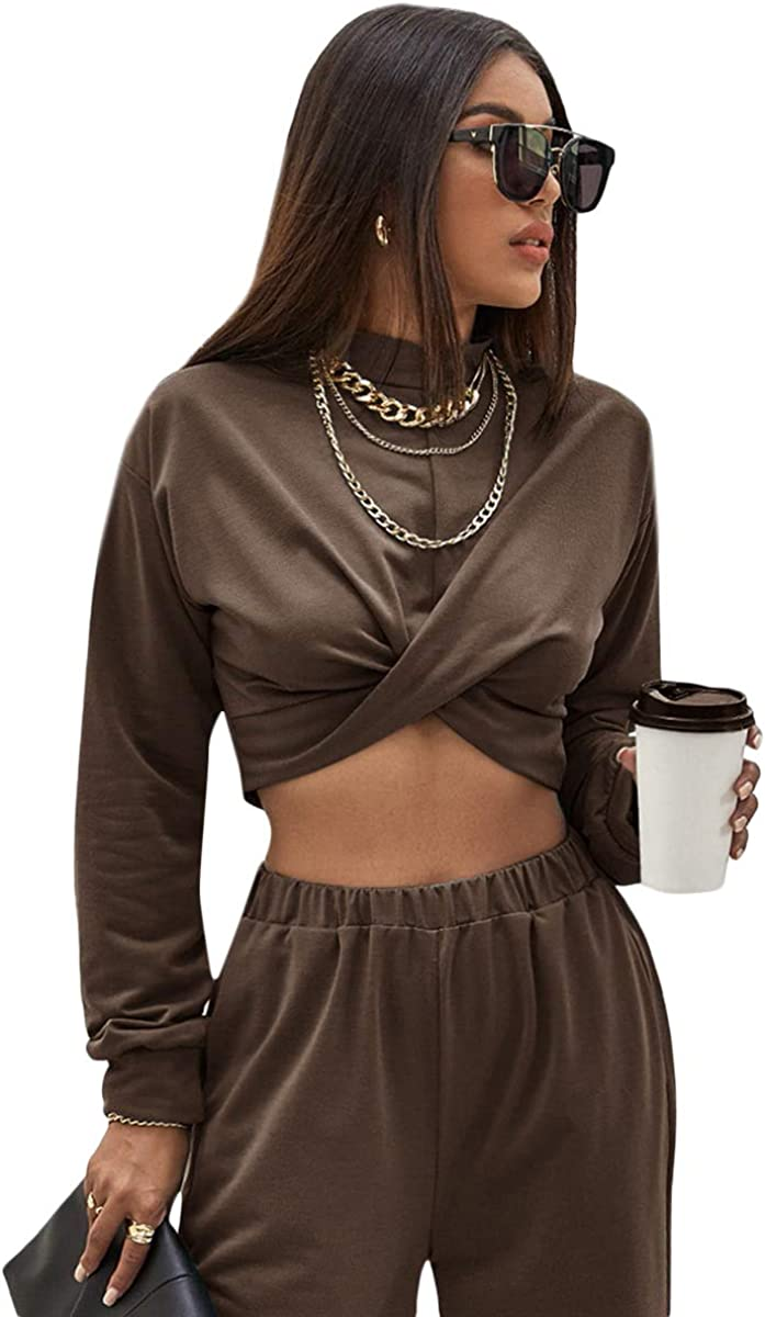 MakeMeChic Women's Solid Twist Front Zip Back Long Sleeve Sweatshirt