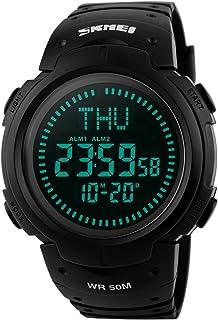 Men's Digital Sports Compass Waterproof Watch- Black