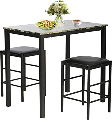 3-Piece Counter Height Glossy Print Marble Breakfast Table W//2 Stools Roundhill