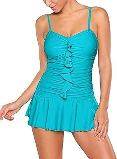 Women's Spaghetti Straps Frilled Skirted Swimsuit Maillot