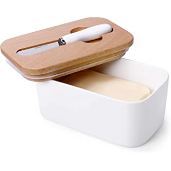 Sweese 324.101 Large Butter Dish with Knife - Airtight Butter Keeper Holds Up to 2 Sticks of Butter - Porcelain Container with Beech Wooden Lid, White