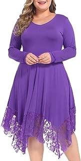 NUONITA Women Dress Plus Size Long Sleeve Lace Irregular Hem Loose Shirt Tunic Dresses