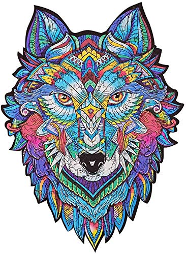 Wooden Jigsaw Puzzles, Learning Wooden Puzzles, Wooden Cartoon Fox/Mysterious Lion/Owl/Wolf/Design Unique Shape Jigsaw Puzzles Pieces Best Gift for Adults and Kids Fox Puzzle (A4,Wolf)