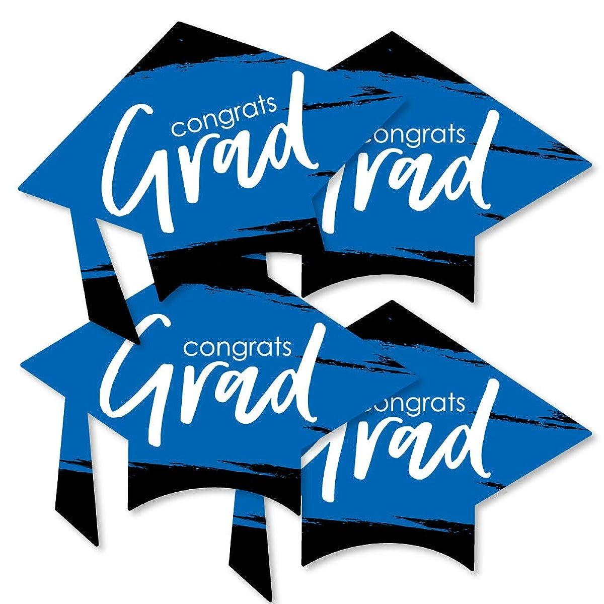Blue Grad - Best is Yet to Come - Grad Cap Decorations DIY Royal Blue Graduation Party Essentials - Set of 20
