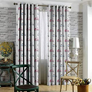 Motorcycle 100% blackout lining curtain Classic Pink and Blue Mopeds in Symmetrical Positions Retro Bike Ride Full shading treatment kitchen insulation curtain W72 x L108 Inch Pale Pink Baby Blue