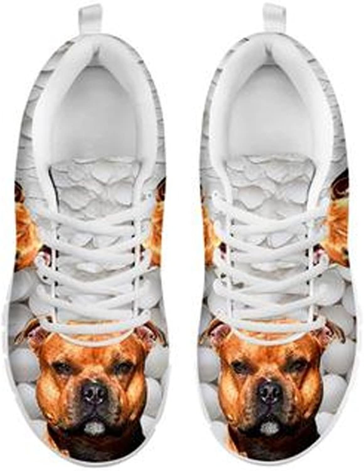 shoestup Amazing Dog Print Women's Casual White Running shoes Designed by Camilla Sanner