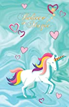 BELIEVE IN MAGIC: Blue Teal Unicorn Rainbow mane - Kawaii stationary - College classic Ruled Pages Book (5.5 x 8.5) Medium Lined Journal Composition Notebook to write in (Positive Vibrations)