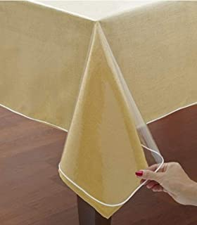 Home Bargains Plus Hotel Quality Crystal Clear Vinyl Tablecloth Protector, 6 Gauge Heavy Duty Thick Vinyl Super Clear Tablecloth Cover, 70 Inch Round