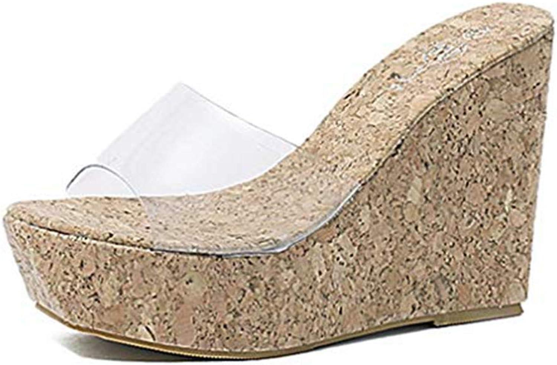 Lelehwhge Women's Clear Strappy Wedges High Heels Platform Slides Sandals Open Toe Slip On Cork Roman Sandals shoes Beige 6 M US