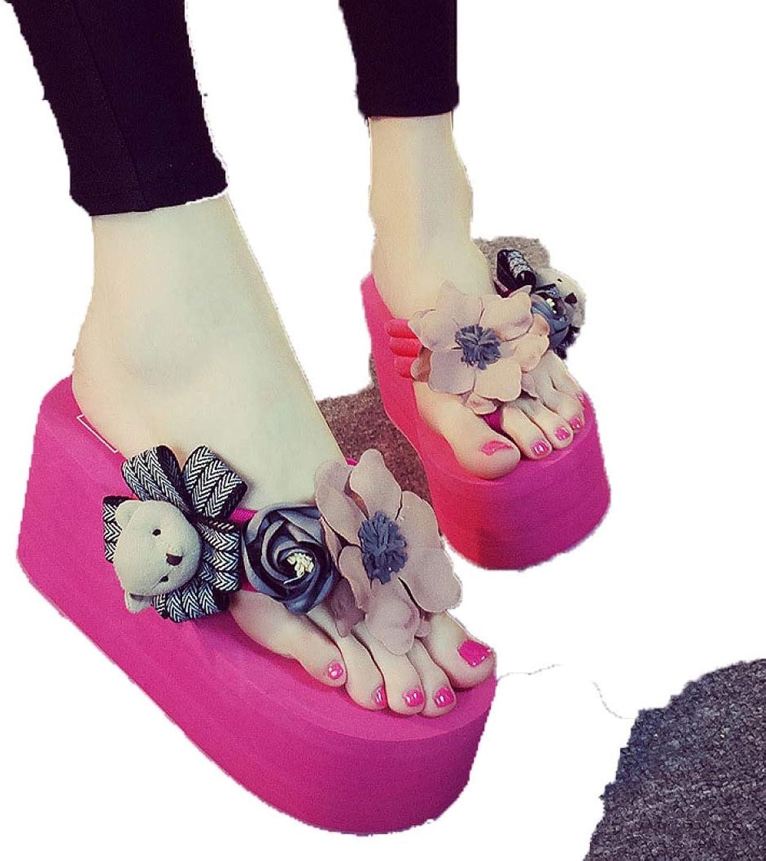 Fashion Beach Wedge Flip Flops Slipper Women Summer Casual Trifle Platform High Heel Flower Doll Slide