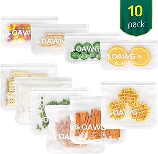 COAWG Bolsas de Almacenamiento para Alimentos Reutilizables, (6 Bolsas de Sándwich + 4 Bolsas de Refrigerios)Sello Congelador Transparente Bolsas de Verduras,Frutas,Snacks,BPA Free,Viaje Llevar-10Pcs