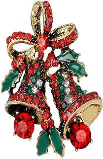 Holiday Christmas Xmas Flower Jingle Bell Bowknot Brooch Pin