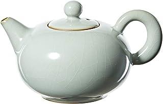 YASI Porcelain Teapot, 280ml/9.4OZ Pottery Kung Fu Teapot - Azure Crackled Glaze Ru Kiln Pearl Teapot
