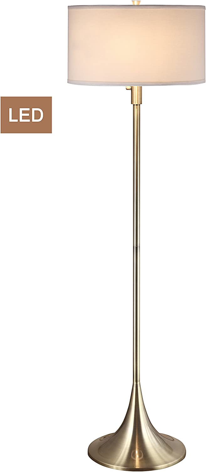 Artiva USA LED051302FAB Florenza 61  2-Light LED Floor Lamp with Dimmer, 63 H x 18 W x 18 L, Antique Satin Brass