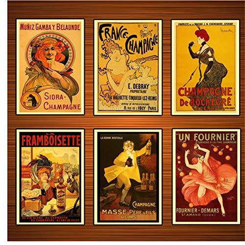 Vintage alcoholische dranken wijn poster Frankrijk champagne klassieke canvas schilderijen print muur posters Home decor gift-40x50x6Pcscm geen frame